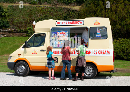 a young family buying ice creams from a van, england, uk - Stock Photo