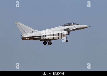 A Bae systems Typhoon fighter on final approach - Stock Photo