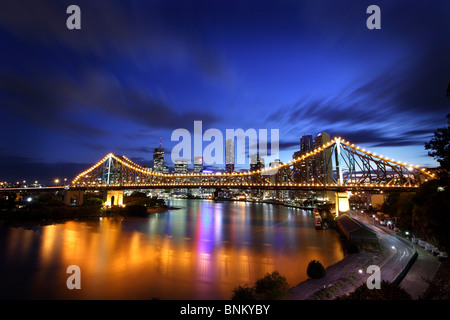 Story Bridge Brisbane Australia at dusk - Stock Photo