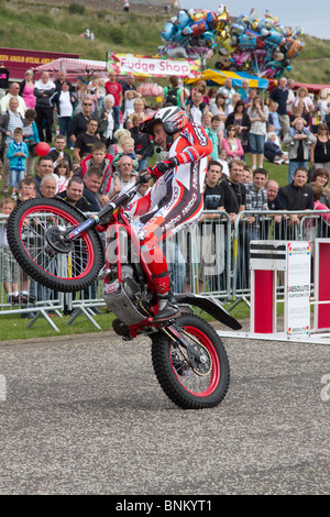 Steve Colley Motorcycle Stunt Rider at Arbroath Seafront Spectacular, Scotland, UK - Stock Photo