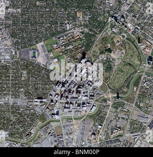 aerial map view above Texas Medical Center Houston Texas - Stock Photo