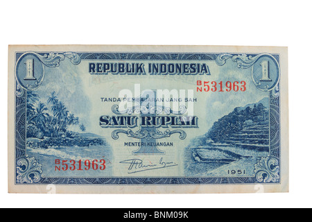 Vintage Indonesian Currency bank note close up - Stock Photo