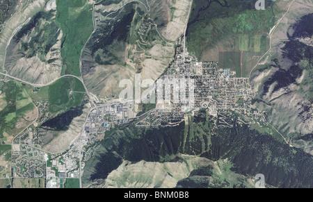 aerial map view Jackson Wyoming - Stock Photo
