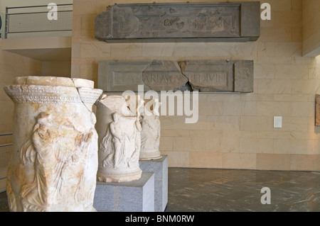 (Room 2 Theatre and Society) display of ornamental sculpture  in the museum at Roman Theatre of Cartagena, Murcia, - Stock Photo