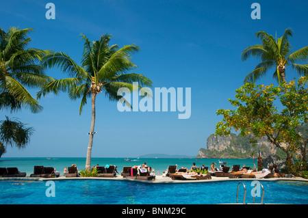 Asia Asian island isle Krabi South-East Asia Thailand Southern Thailand Railay west Rai Leh beach seashore Centara - Stock Photo
