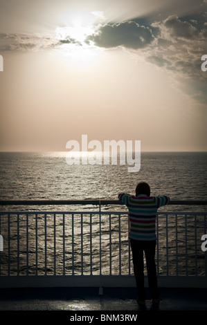 Looking out to sea on the MV Pont Aven in the Bay of Biscay - Stock Photo
