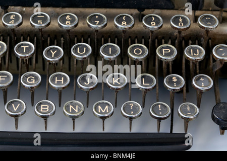 Old fashioned typewriter keys in a close up - Stock Photo