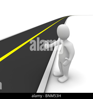 Hitchhiker and empty road. 3d rendered illustration. - Stock Photo