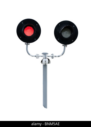 railway traffic lights isolated on white background - Stock Photo