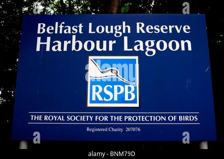 Sign at Belfast Lough Reserve, Queens Island, Belfast, Northern Ireland - Stock Photo