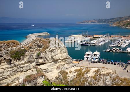 Italy Calabria Tropea province Vibo Valentia panoramic view port boats coast Tyrrhenian Sea Mediterranian Sea - Stock Photo