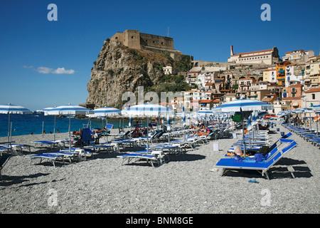 Italy Calabria Scilla Skylla Province of Reggio Calabria Viola Coast Strait of Messina Straits of Messina bathing - Stock Photo