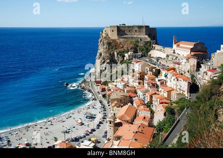 Italy Calabria Scilla Skylla Province of Reggio Calabria Viola Coast Strait of Messina Straits of Messina town view - Stock Photo