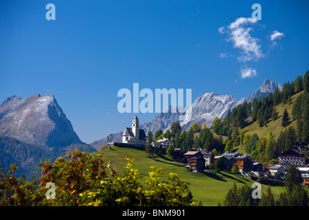 Italy Alps Veneto Dolomites Cadore hill wood forest meadows holidays travel, - Stock Photo