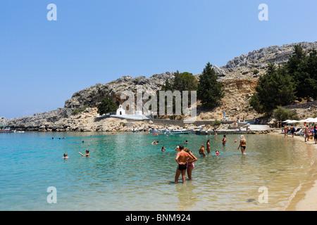 St Paul's Bay Beach, Lindos, Rhodes, Greece - Stock Photo