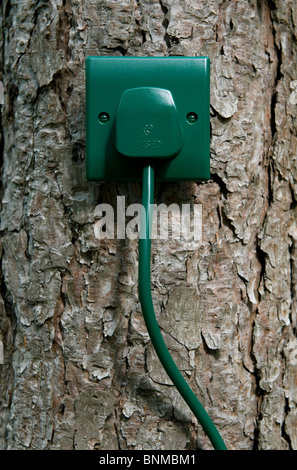 green power, cable, plug and socket - Stock Photo
