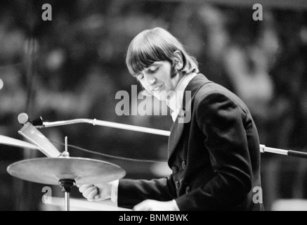 The Beatles music pop group band concert Germany Essen 1966 Ringo Starr drummer - Stock Photo