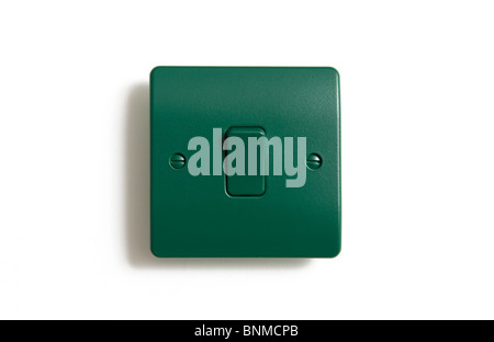 green power switch, switched on - Stock Photo