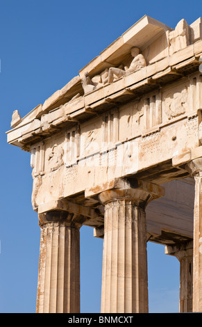 Detail of the eastern pediment and entablature of the Parthenon. - Stock Photo