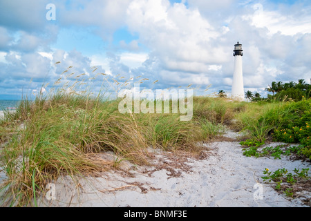 Cape Florida Lighthouse located in the Bill Baggs State Recreation Area. Key Biscayne, Florida - Stock Photo