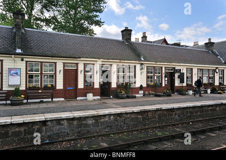 Platform at the Boat of Garten railway station, Scotland, UK - Stock Photo