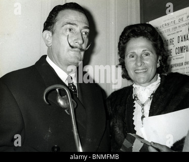 SALVADOR DALI  (1984-89) Spanish artist with wife Gala at the Sorbonne in Paris - Stock Photo