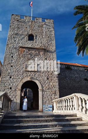 The Veliki Revelin Land Gate Korcula Old Town entrance Dalmatia Croatia - Stock Photo