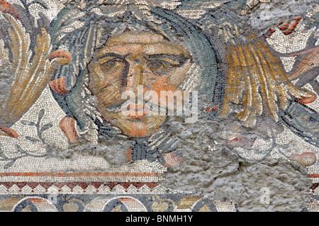mosaic; tiles; roman; ancient; byzantine; byzantium; constantinople; art; craft; skill; great palace; floor; portrait; - Stock Photo