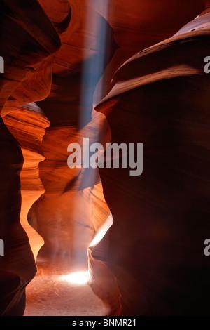 A single beam of light in Upper Antelope Canyon, Page, Arizona, USA. - Stock Photo