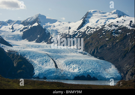 Scenic view of Portage Glacier and Portage Lake as seen from Portage Pass in Alaska during Autumn - Stock Photo