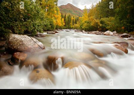Little Susitna River at the start of the Hatchers Pass Road, Alaska, Autumn - Stock Photo