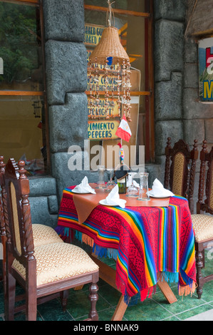Charmant Colorful Outdoor Restaurant Table Settings And Tablecloths In Agua  Calientes, Peru.   Stock Photo