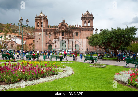 The cathedral on the Plaza de Armas in Cusco, Peru, South America. - Stock Photo