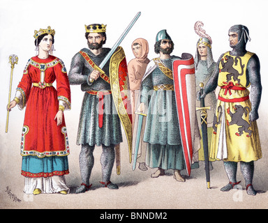 The figures represented here are French around A.D. 1100:  queen, king, costume of the people, three knights. - Stock Photo