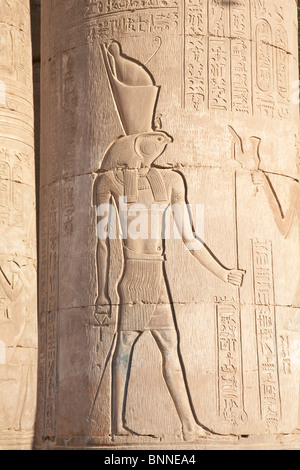 Horus God - carving at Kom Ombo Temple - Stock Photo