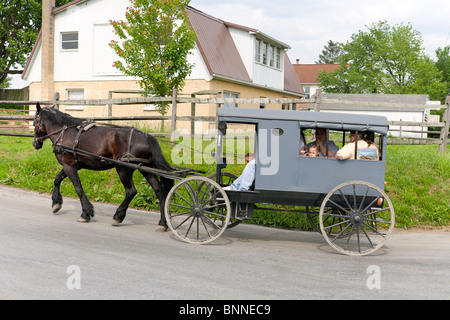 Horse and buggy in Amish Country, Lancaster, Pennsylvania. - Stock Photo