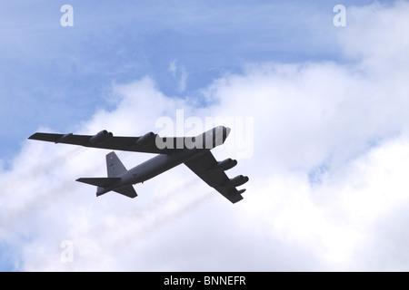 Boeing B52 Stratofortress strategic bomber flying at Farnborough Airshow 2010
