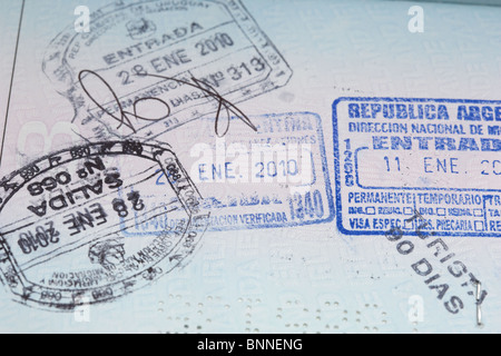republic of argentina and uruguay entry and exit visa stamps in an eu irish passport - Stock Photo