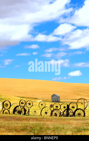 Wagon Wheel Fence, wheat field and clouds - Stock Photo