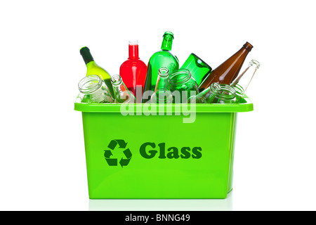 Photo of a green glass recycling bin isolated on a white background. - Stock Photo