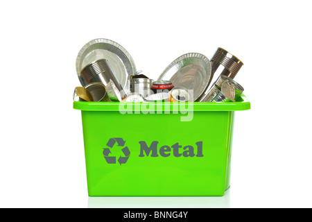 Photo of a green metal recycling bin isolated on a white background. - Stock Photo