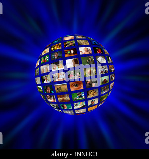 A sphere of pictures or video screens in a blue vortex - Stock Photo