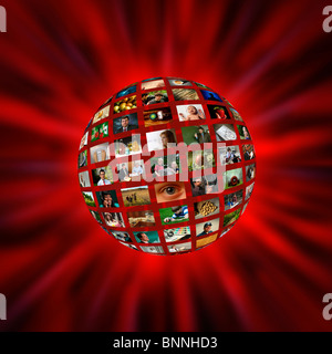 A sphere of pictures or video screens in a red vortex - Stock Photo