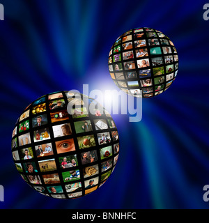 Two spheres of photographs or video in a blue vortex - Stock Photo