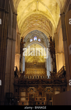 Cathedral – arches and ceiling, Seville, Seville Province, Andalucia, Spain, Western Europe. - Stock Photo