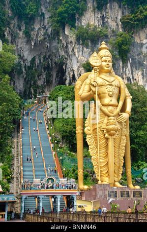 Asia destination outdoor Batu sculpture Caves entrance input area figure tourism faith God divinity godhead Hinduism - Stock Photo