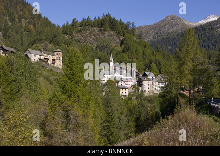 Switzerland swiss village Fusio valley of Maggia canton Ticino Southern Switzerland swiss autumn place scenery nature - Stock Photo