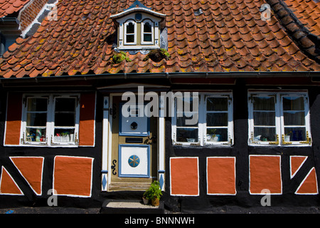 Aeroskobing Denmark island isle Aero town city house home half-timbered house window door - Stock Photo
