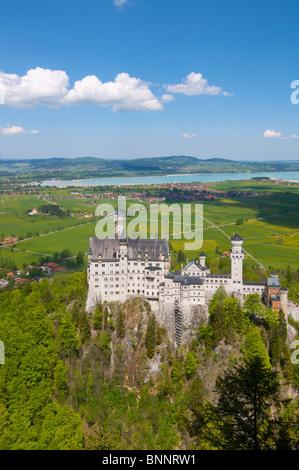 Allgaeu Allgäu Bavaria Germany castle Neuschwanstein Forggensee Füssen - Stock Photo