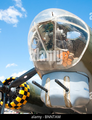 Nose, bomb aimers position and chin turret of the famous Duxford (England) - based airworthy B-17 Flying Fortress - Stock Photo